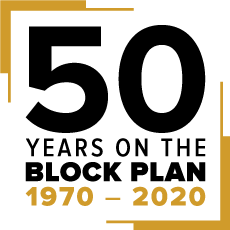 Block Plan 50th anniversary logo