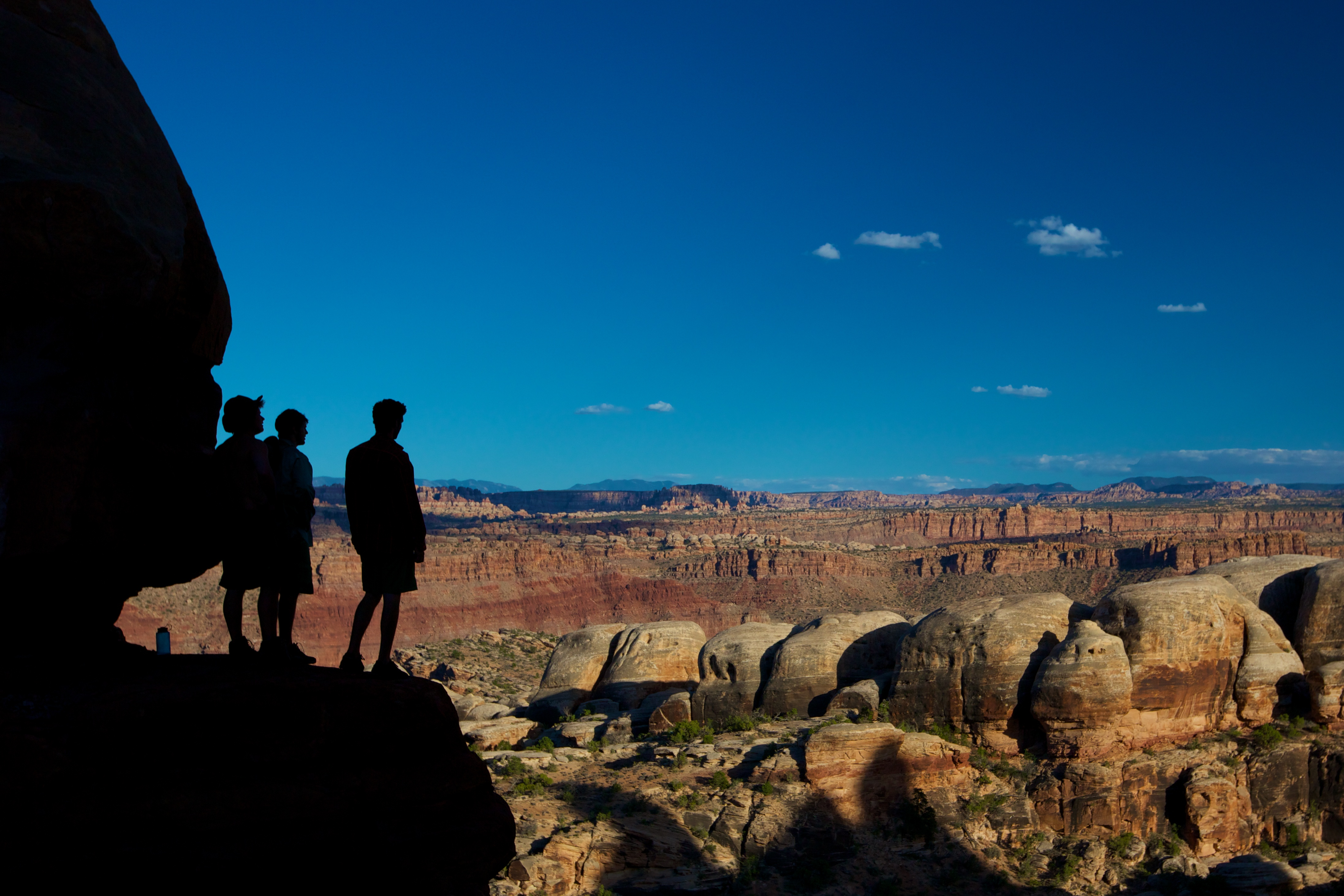 People looking out over desert view