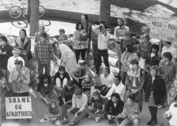 Apartheid Rally for Divestment at Armstrong Hall, 1987