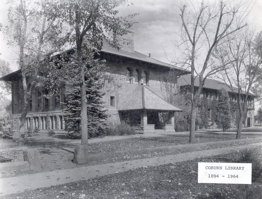 Coburn Library with its neighbor to the east, Perkins Hall, dedicated in February, 1900, were removed in 1964 to make room of Armstrong Hall.