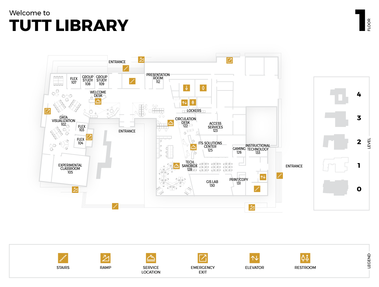Diagram of the First Floor of the Tutt Library Building