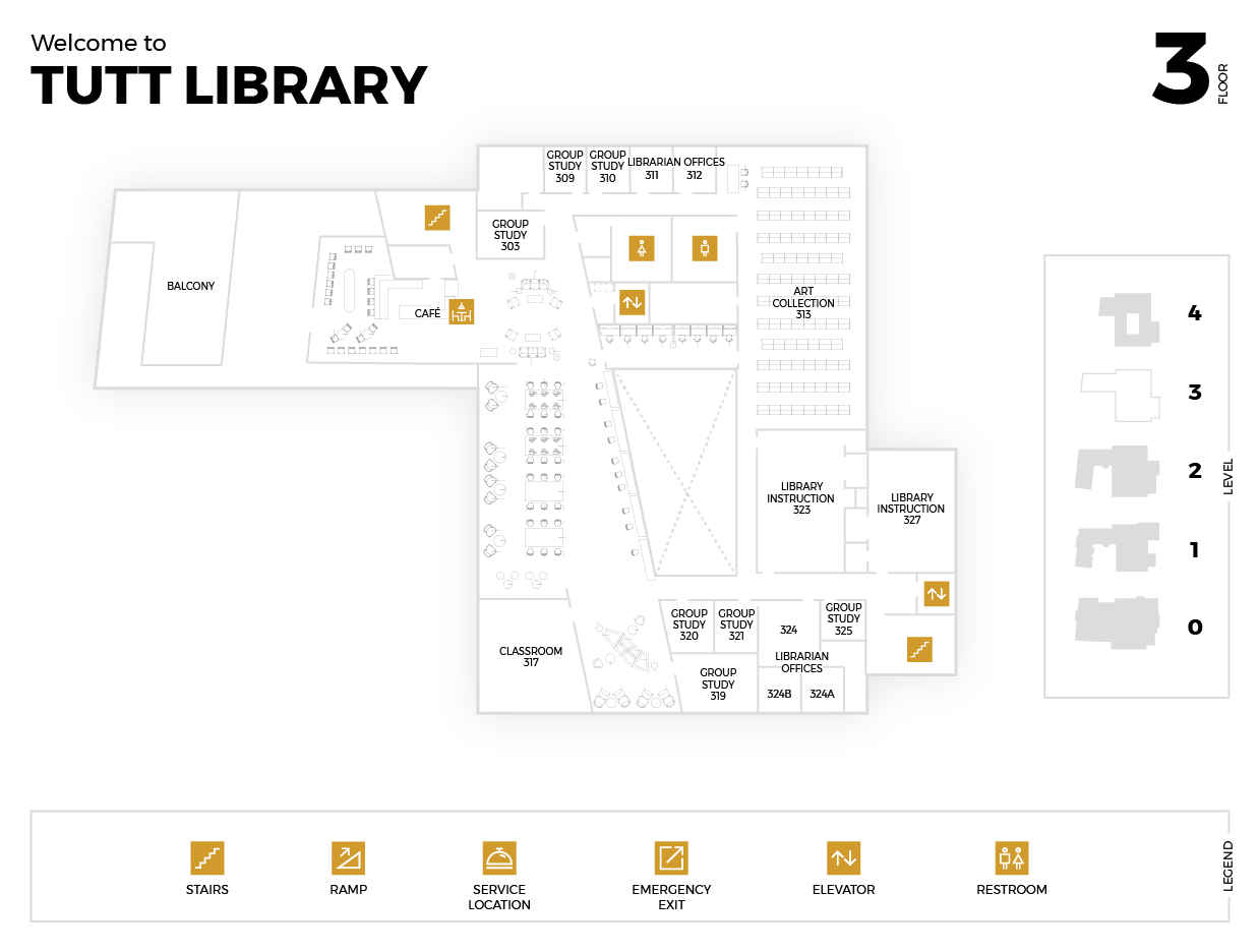 Diagram of the Third Floor of the Tutt Library Building