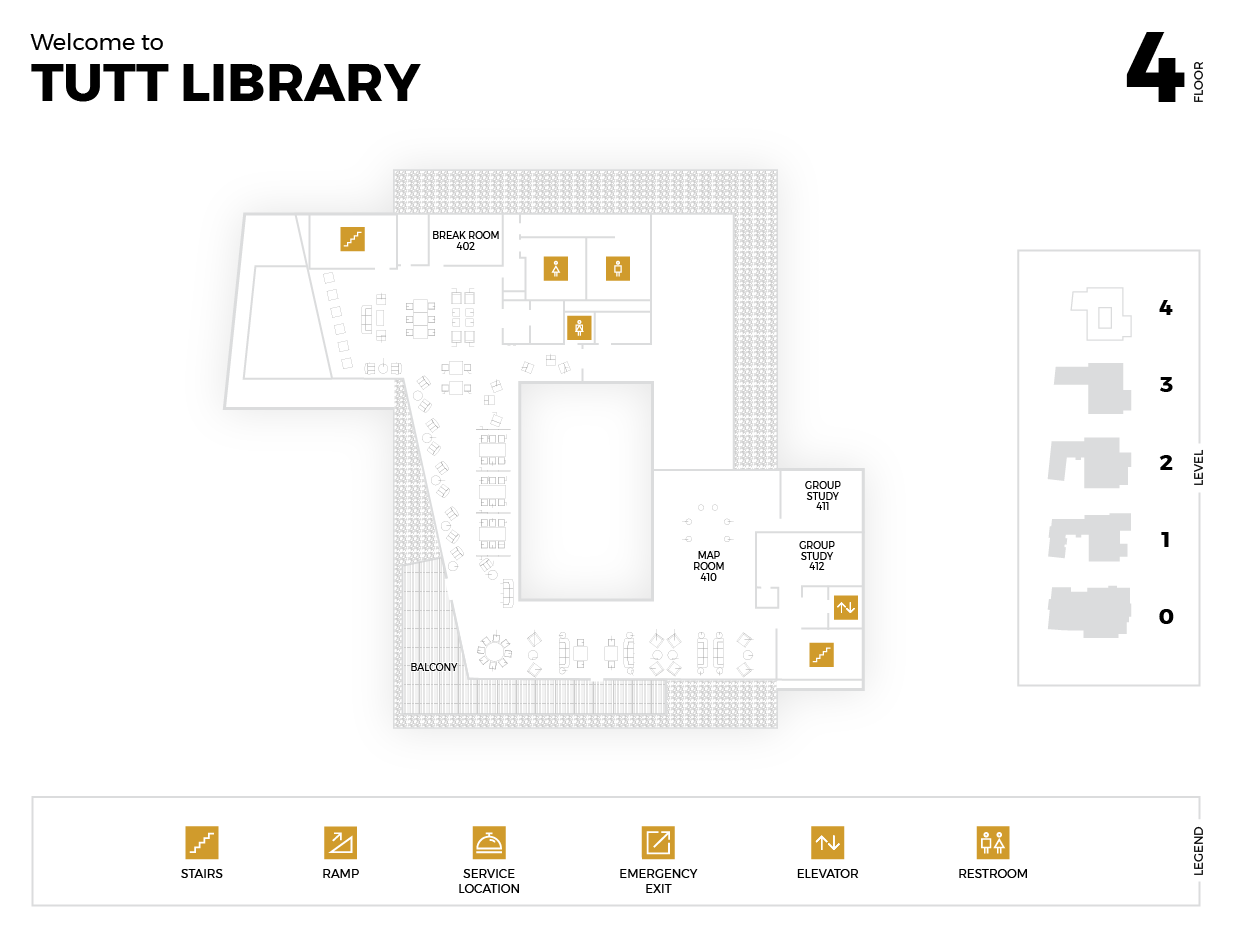 Diagram of the Fourth Floor of the Tutt Library Building