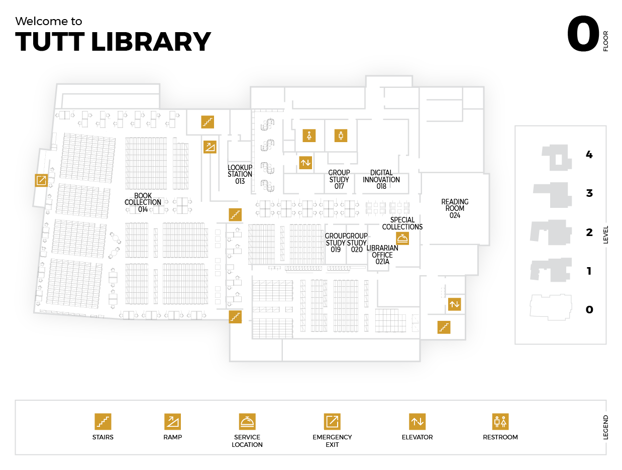 Diagram of the Garden Level of the Tutt Library Building