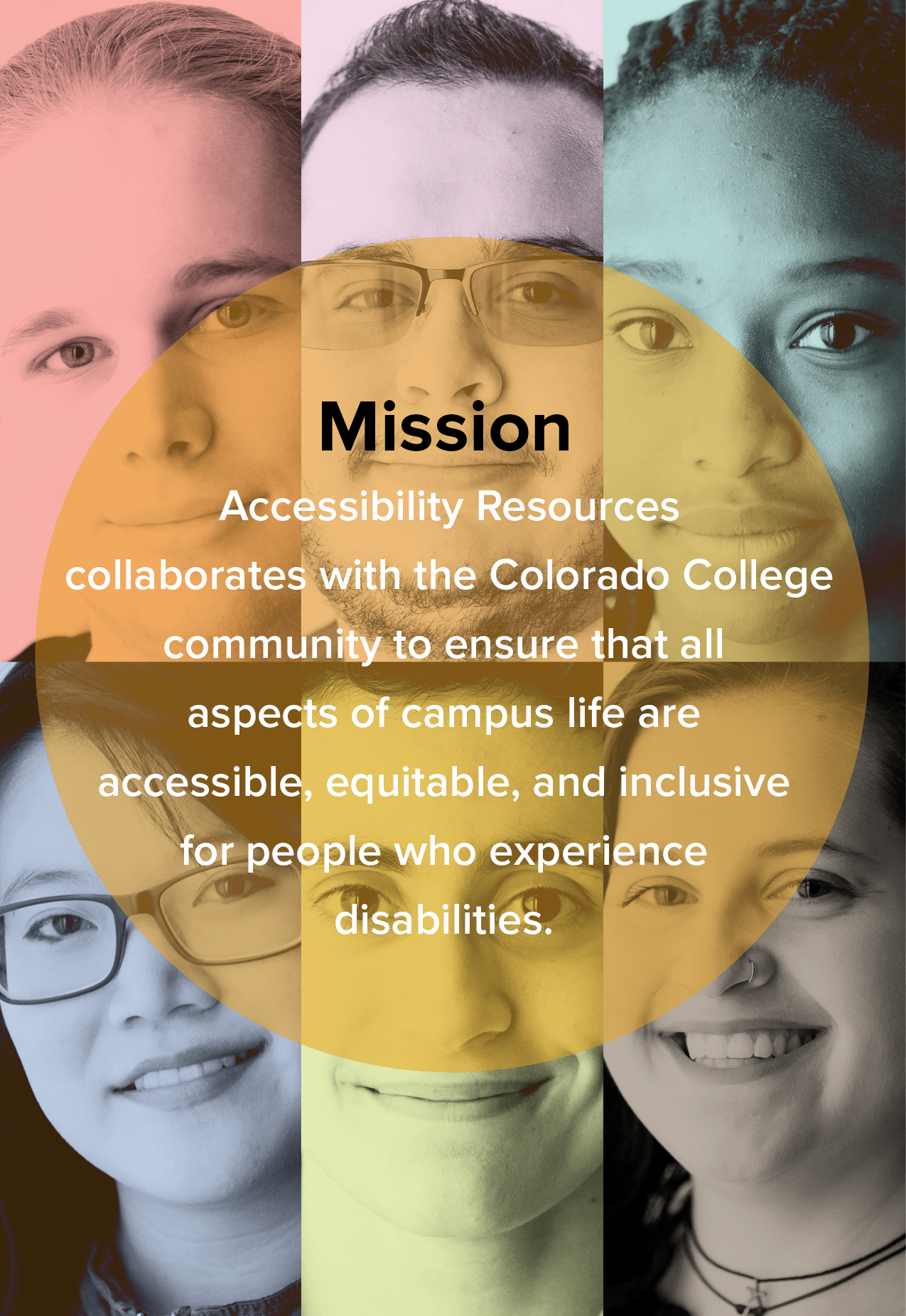 Six students representing different races, ethnicities, and genders. Text on top of image states: Accessibility Resources collaborates with the Colorado College community to ensure that all aspects of campus life are accessible, equitable, and inclusive for people who experience disabilities.
