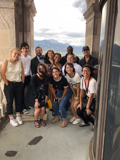 Community Engaged Fellows in the Colorado College class of 2022 at the Pioneer Museum in downtown Colorado Springs