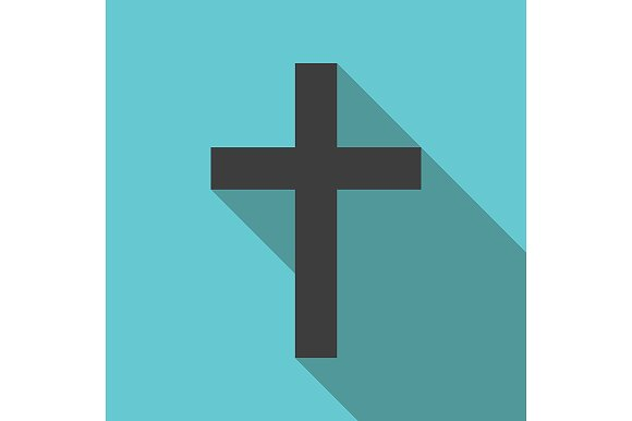 Flag christian-cross-long-shadow-